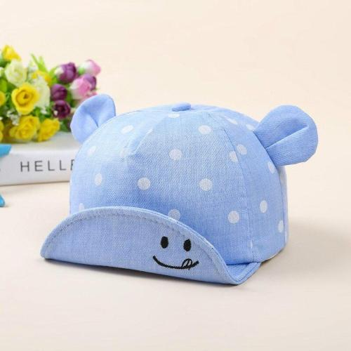 Children's Baby Polka Dot Embroidered Smiley Face Baseball Cap