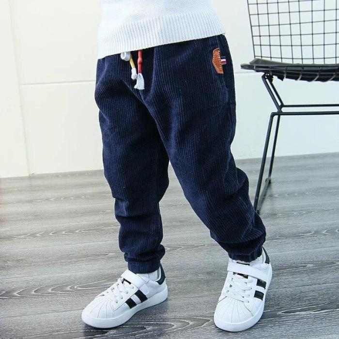Children Winter Fashion Corduroy Pants Boys Thicken Solid Trousers