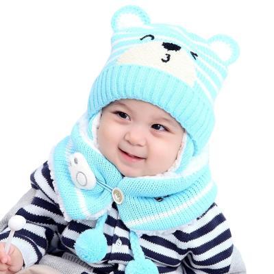 Kids Winter Hats Children Crochet Warm Caps Scarf Set