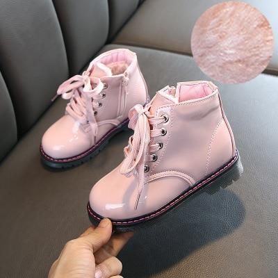 Kids Martin Boots Children Girls PU Leather Rubber Snow Boots