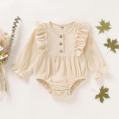Solid Ruffle Long Sleeve Newborn Baby Girl Bodysuit