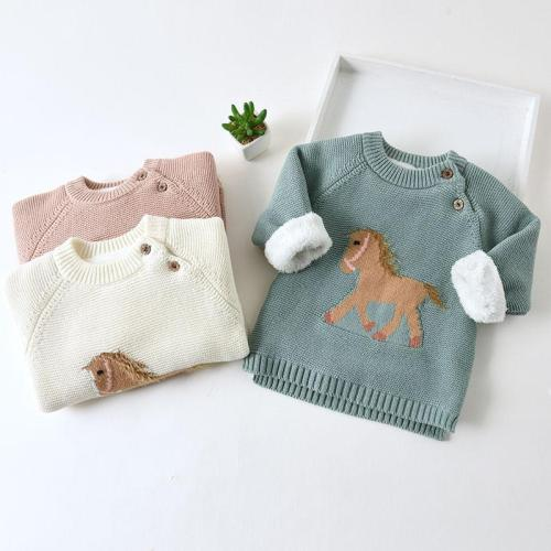 Kids Girls Sweaters Children Cartoon Thicken Tops Wool Pullovers