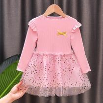 Children's Christmas New Year Dresses Full Sleeve Cute Princess Knitting Dress