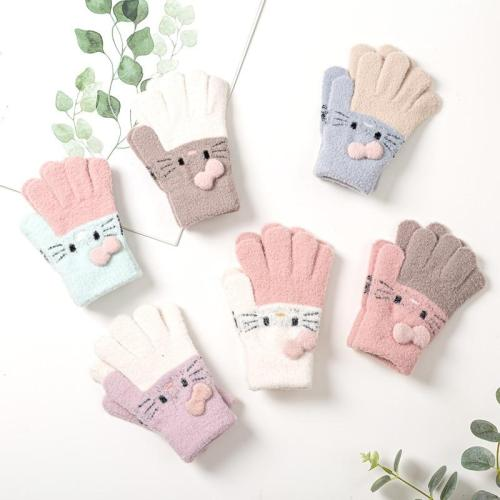 Winter Knitted Children's Gloves Warm Soft Rabbit Wool Cartoons Kids Gloves