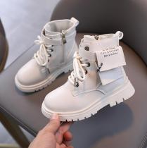 Plush Children Fashion Boys Martin Boots Soft Leather Warm Kids Snow Boots
