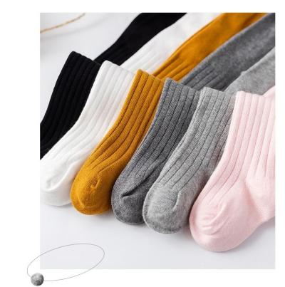 Pure Color Children's Tights Cotton Knitted Pantyhose For Girls