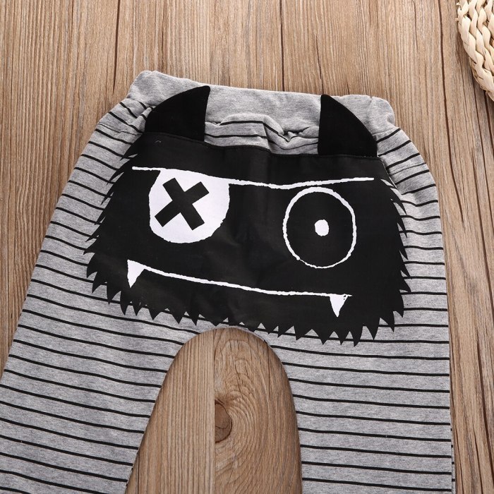 Stripped Monster Print Pant Bottoms For Baby Boys