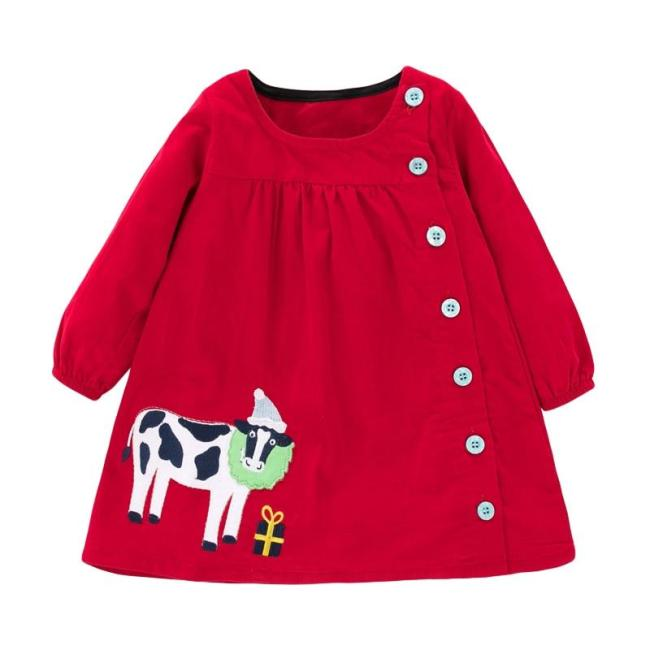 Kids Girls Fashion Button Dresses Girls Clothes Cow Applique