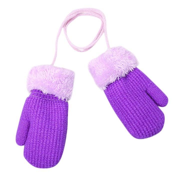 Toddler Baby Outdoor Winter Patchwork Keep Warm Mittens Gloves