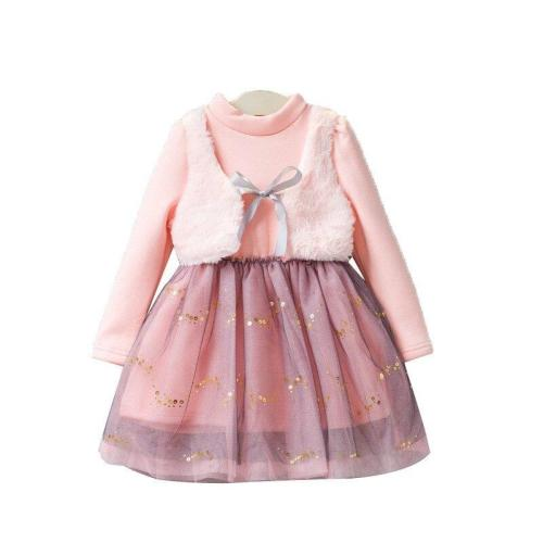 Long Sleeve Turtleneck Kids Girls Dress Princess Dress Ball Gown with Sequined