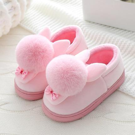 Kids Girls Winter Slippers Cartoon Rabbit Cotton Home Slippers