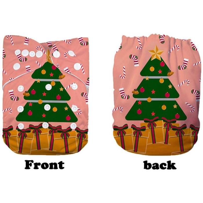 Reusable Nappies For Newborns Digital Positioned Christmas Patterns