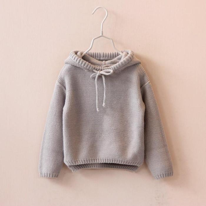 Toddler Kids Baby Girls Solid Hooded Sweater Knit Crochet Tops Clothes Outfits