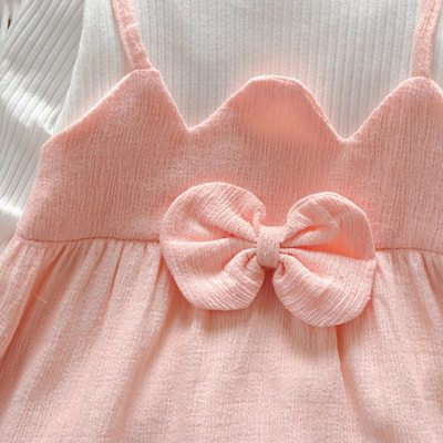 Baby Girls Autumn Dress Toddler Kids Striped Patchwork Long Sleeve Dress