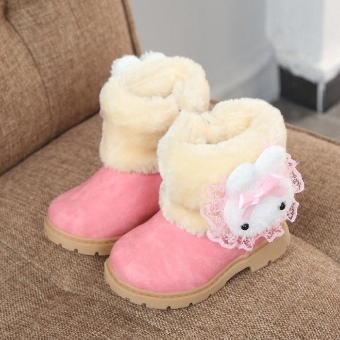 Fashion Winter Girls Snow Boots Warm Cotton With Cartoon Rabbit Lace Kids Boots