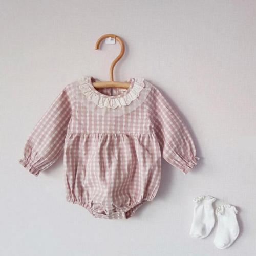 Newborn Baby Girl Bodysuit Children Clothing Girls Fashion Plaid Bodysuit