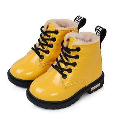Martin Boots for Girl PU Leather Waterproof Winter Kids Snow Shoes