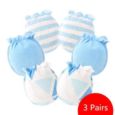 3 Pairs Baby Anti Scratching Gloves Newborn Protection Face Cotton Scratch Mittens