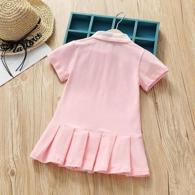 Baby Girl Lapel Rabbit Embroidery Tennis Dress