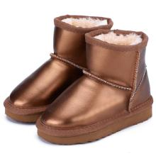 Boys Waterproof Genuine Leather Fur Winter Warm Children Classic Snow Boots