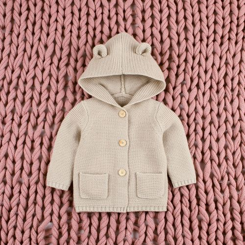 Baby Boys Cartoon Cardigan Ears Clothing Newborn Knitted Hooded Sweater