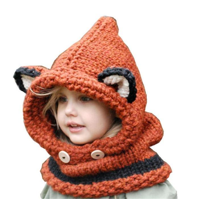 Knitted Winter Baby Hat Fox Ear Hat Woollen Warm Children's Hat