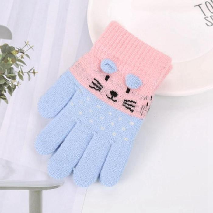Children Kids Winter Warm Thicken Gloves Toddler Cute Cat Mittens