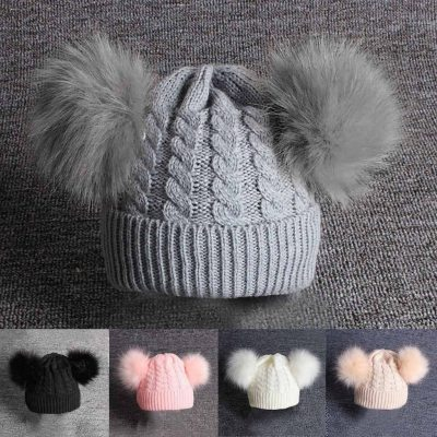 Cute Baby Knitting Wool Hemming Hat Keep Warm Winter Fur Ball Cap