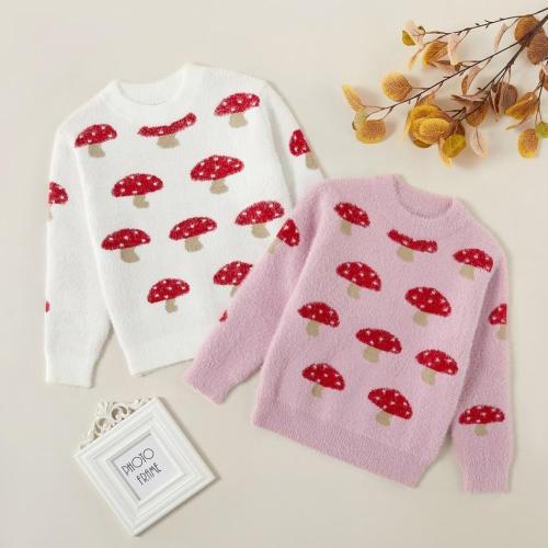 Kids Girl Sweet Sweater Pretty Mushroom Allover Print Sweaters