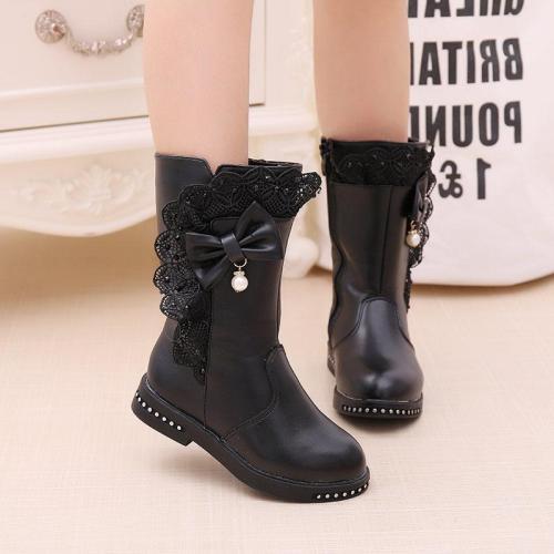 Children's Snow Boots Winter Warm Girls Leather Fashion Princess Boots Plus Velvet Lace Bow Shoes
