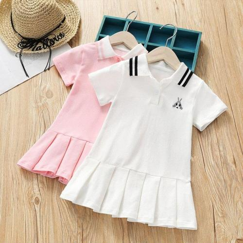 Baby Girl Lapel Rabbit Embroidery Tennis Dress