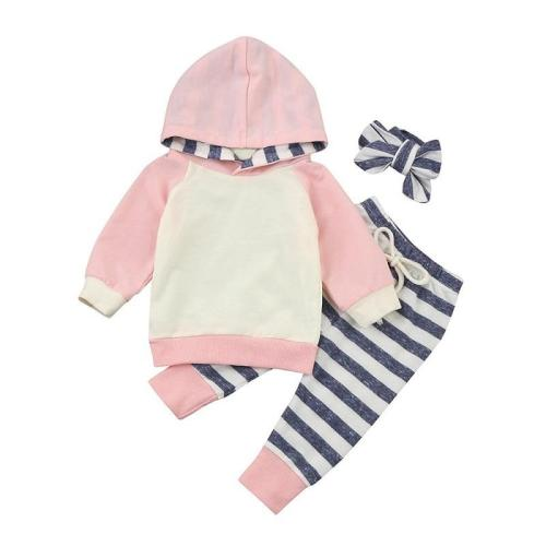 Newborn Baby Sets Baby Boys Long Sleeve Stripe Hooded Tops and Pants Outfits Sets