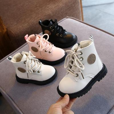 Children Plush Warm Shoes PU Leather Girls Kids Martin Boots