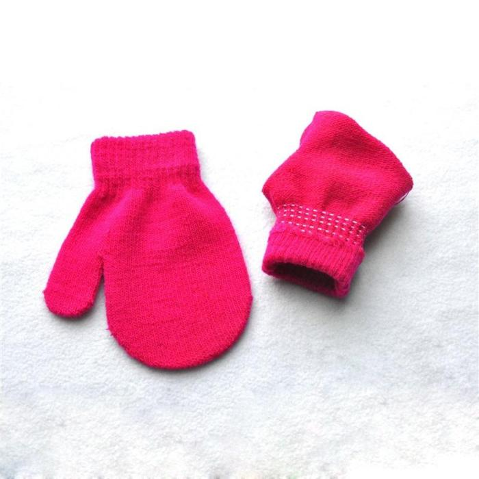 Candy Color Knitted Baby Gloves Winter Knit Wool Newborn Mittens
