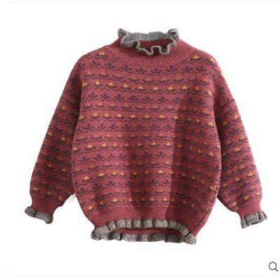 Kids Retro Print Sweater Winter Girl Thick Knitted Bottoming Long Sleeve Pullover