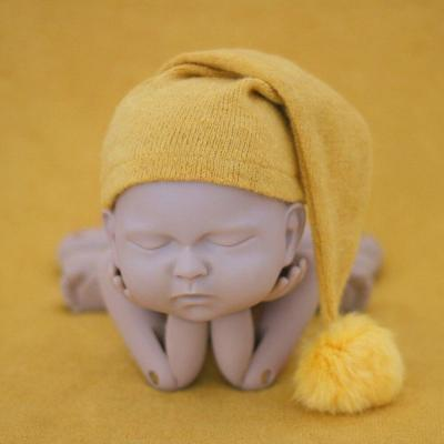 Newborn Photography Props Knit Fur Ball Hat Beanie Baby Cap