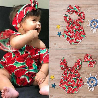 Newborn Baby Girl Watermelon Cute Bodysuit Jumpsuit Outfit