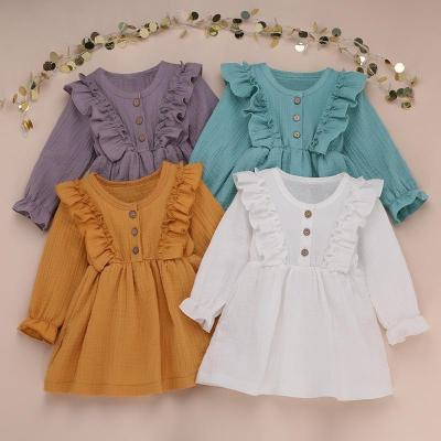 Girl Autumn Dress Ruffles Long Sleeve Solid Cotton Linen Party Casual Dress