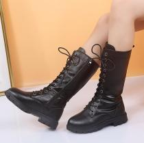 Fashion Children Long Boots Girls Plush Ankle Snow PU Leather Boots
