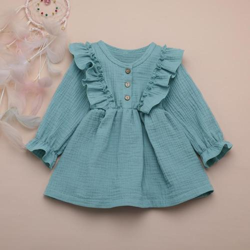 Girl Autumn Dress Ruffles Long Sleeve Solid Cotton Linen Party Casual Dress