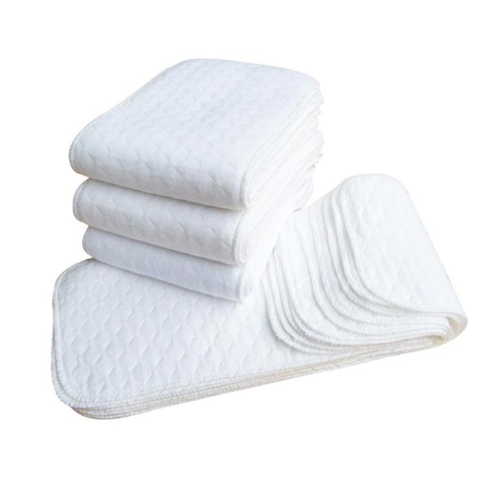 10 Pcs Reusable Baby Diapers Cloth Diaper 3 Layer Insert 100% Cotton Washable Baby Care Eco-friendly Diaper