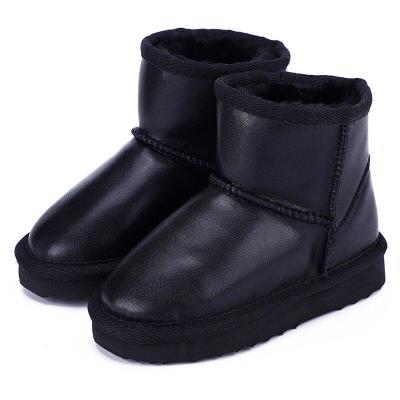 Boys Waterproof Genuine Leather Fur Winter Warm Children Classic Snow Boots