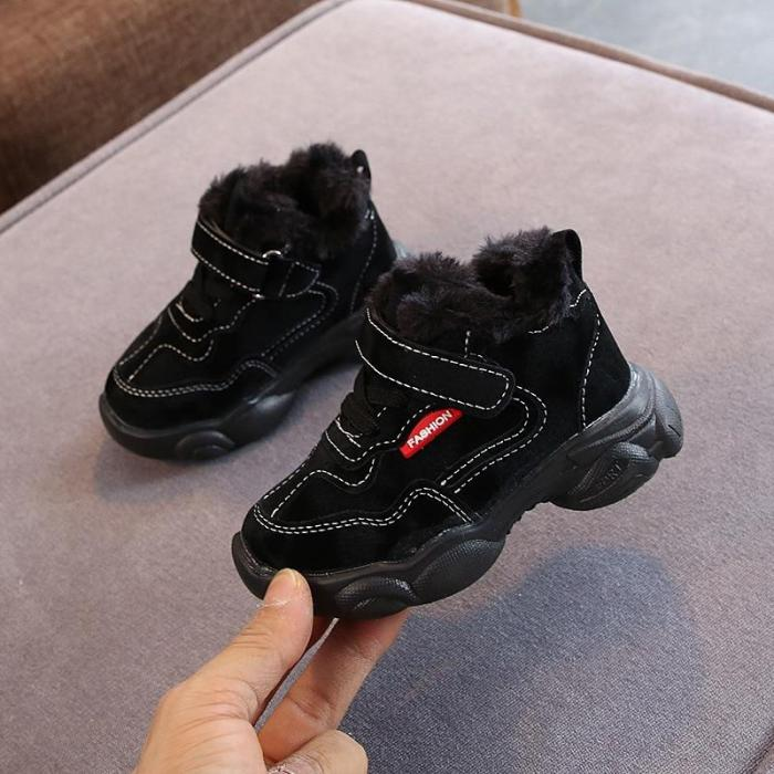 Children's Boot Kids Shoes Boys Flock Leather Boots Sneaker Fashion Winter Warm Boots