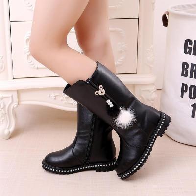 Kids Shoes Girl Soft Leather Boots Children Velvet Warm High Leg Boots