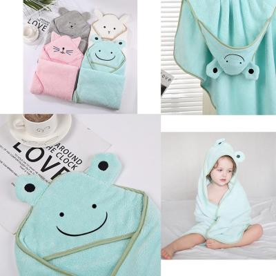 Baby Bath Towel Super Absorbent Poncho Newborn Cute Cartoon Embroidered Hooded Towel