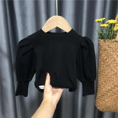 Puff Sleeve Sweaters for Girls Baby Knitwear Kids Knitted Tops Pullover
