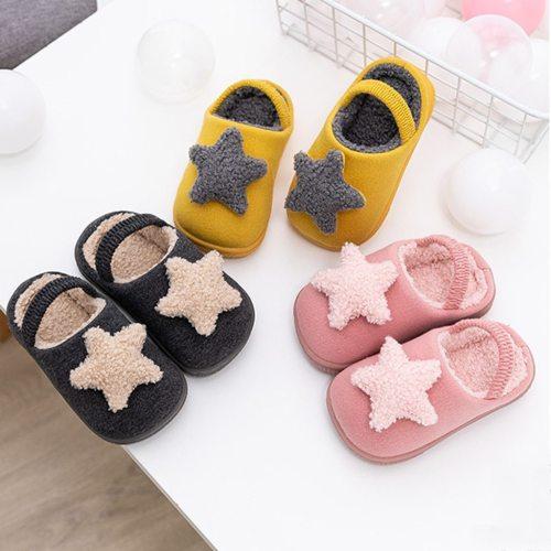 Girls Rear Heel Movable Cute Star Cartoon Kid Home Slippers