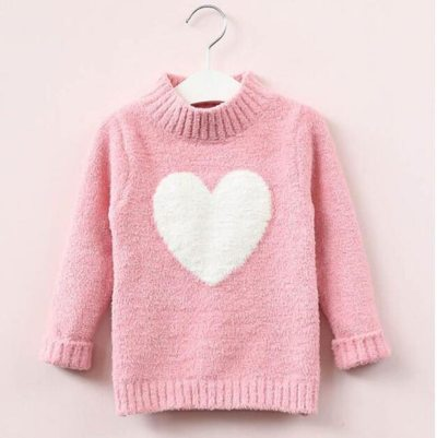Winter Kids Baby Girls Long Sleeve Sweater Love Heart Pattern Knit Tops Clothes
