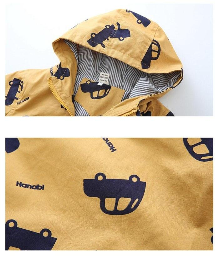 Jacket Boys Kids Outerwear Cute Car Windbreaker Coats Print Canvas