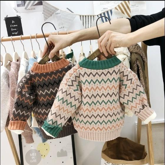 Girl Pullover Sweater Kids Striped Ribbed Knitting Sweater Children Soft Clothes
